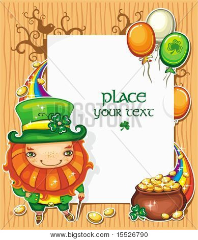 St Patrick's Day celebration composition featuring Irish holidays symbols: Leprechaun, pot of gold, golden coins,  rainbow, Irish flag color baloons flying around. White message board with copyspace