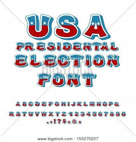 USA presidental Election font. Political debate in America alphabet.