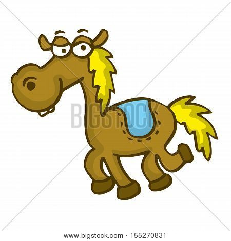 Happy horse funny cartoon vector art illustration