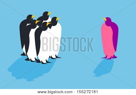 Penguins. Animal from another pack. Unusual bird. Allegory challenge to society