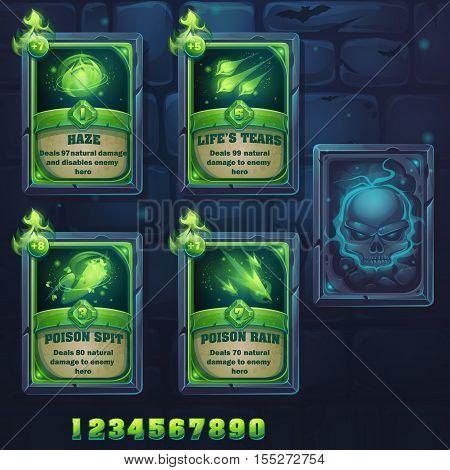 Set spell cards of haze lifes tears poison spit poison rain. For web video games user interface design