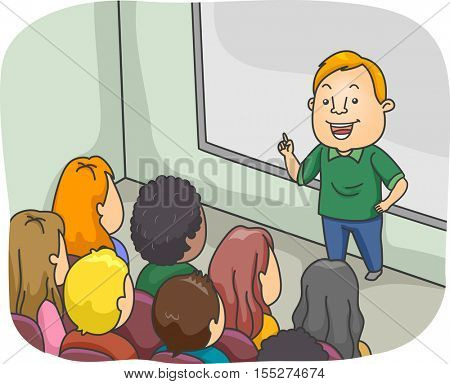 Illustration of a Male Class Instructor Delivering a Lecture in Front of College Students