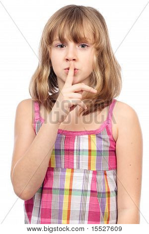 Cute Girl Making Silence Sign