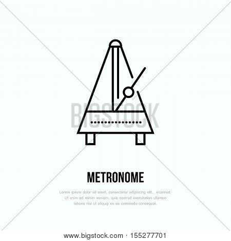 Modern vector line icon of metronome. Music instrument linear logo. Outline symbol for timer, rhythm. Pendulum motion design element for sites.