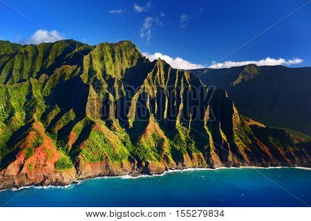 Beautiful Aerial View Of Spectacular Na Pali Coast, Kauai