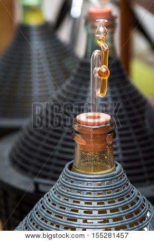 Demijohn With Glass Fermentation Lock.