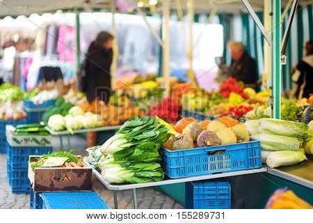 Bunches Of Organic Vegetables Sold On Farmer's Market In Bremen