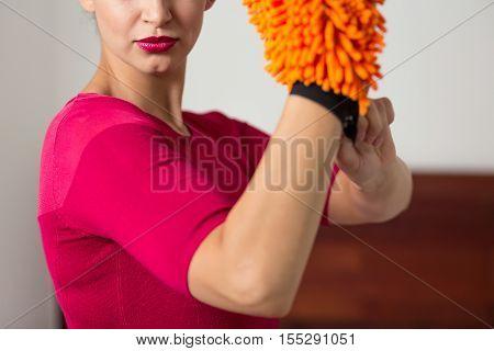 Elegant Woman Wearing A Microfiber Glove