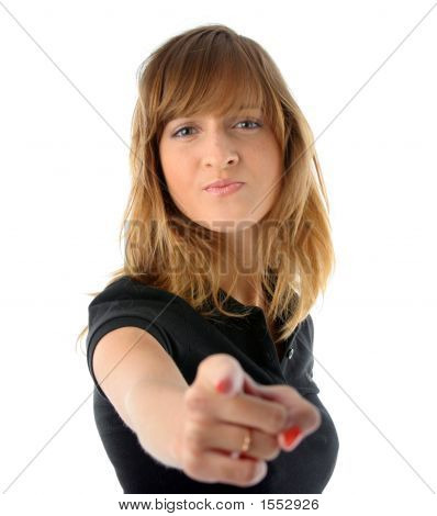 Girl Pointing Her Finger On You