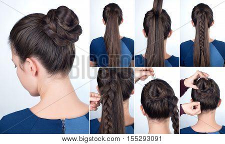 Hairstyle tutorial elegant bun with braid. Simple hairstyle twisted bun with plait tutorial. Hairstyle tutorial for long hair. Hairstyle bun