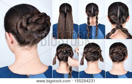 Hair tutorial. Hairstyle twisted bun tutorial. Backstage technique of twist bun. Hairstyle. Pull through braid chignon