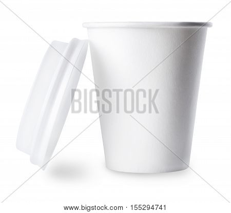 White disposable cup isolated on white background. White paper cup. To go coffee cup with open cap over white. Blank takeaway cup isolated on white background with clipping path