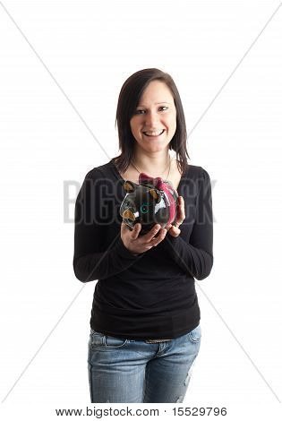 Young Woman Piggy Bank Front