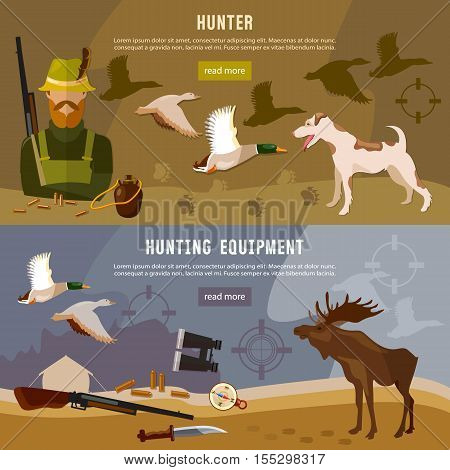 Hunting banners hunter with rifle and dog in forest duck hunting ammunition: binoculars hunting knife vector illustration