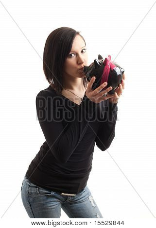Young Woman Piggy Bank Front Kiss