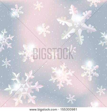 Pale pink and grey seamless pattern with delicate transparent snowflakes. Graphics are grouped and in several layers for easy editing. The file can be scaled to any size.