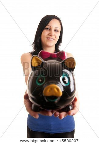 Young Woman Piggy Bank Presenting