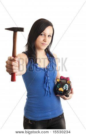 Young Woman Piggy Bank Hammer