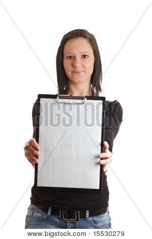 Young Woman Empty Clipboard Front