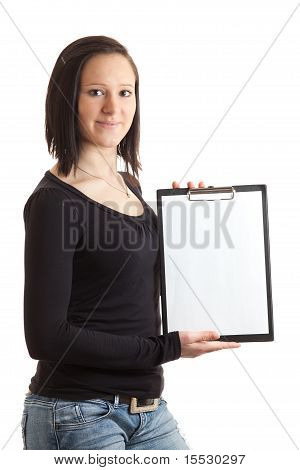 Young Woman Empty Clipboard Side