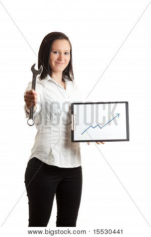 Young Businesswoman Chart And Wrench