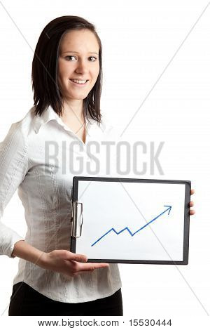 Young Businesswoman Holding Chart