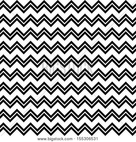 Black and white seamless zig zag line pattern background
