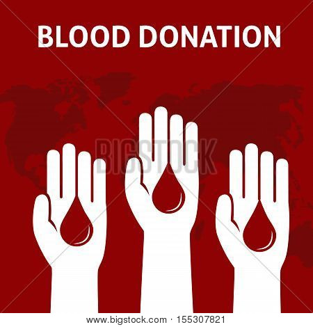Three People Hand give the blood for donation, Blood Donation Concept