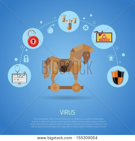 Cyber Crime and Virus Concept with Trojan Horse, Bomb, worm and Bug Flat Icons. vector illustration.