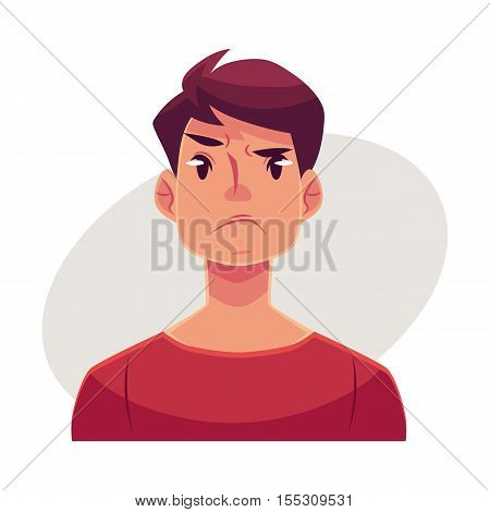 Young man face, angry facial expression, cartoon vector illustrations isolated on gray background. Handsome boy emoji, feeling distressed, frustrated, sullen, upset. Angry face expression