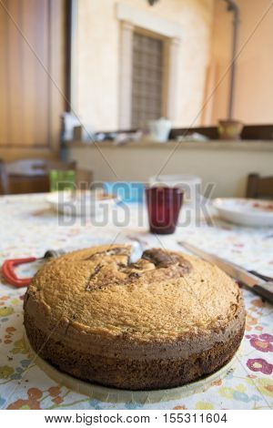 freshly baked chocolate sponge cake on a table