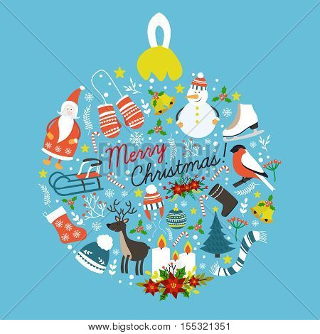 Christmas hand drawn round design with holiday symbols skates sledge animals candles on blue background vector illustration