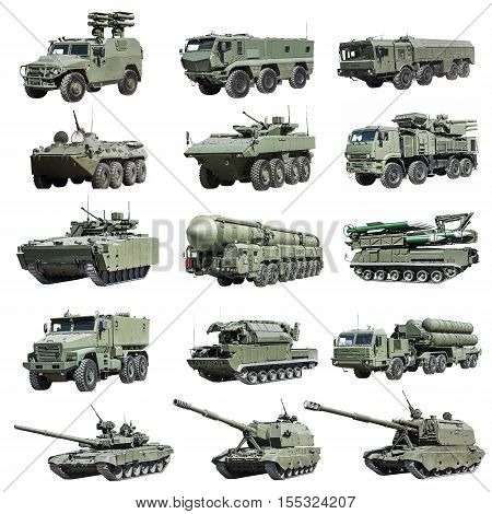 modern Russian armored military vehicle tracked and wheeled. isolated on a white background. Set photos