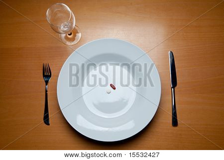 Serving Food Supplements On Wood Table