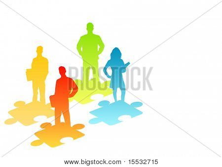 illustration of people and puzzle pieces