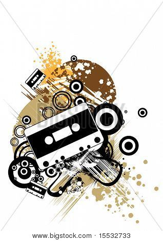 Cassette tape design piece with music in mind.