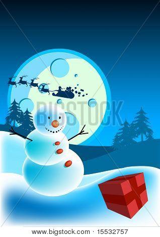 A happy snowman on christmas eve.