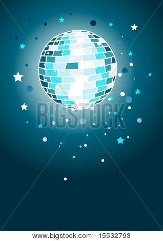 Brillante bola de discoteca en azul.