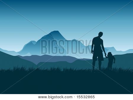 A father and daughter admire the view