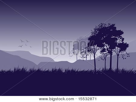 A fresh landscape illustration with trees and birds