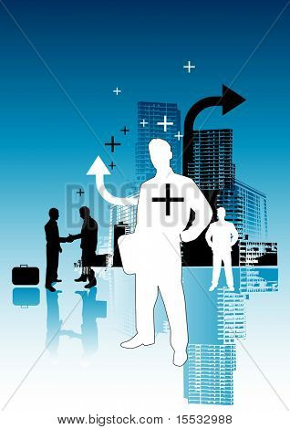 Inner city business people illustration.