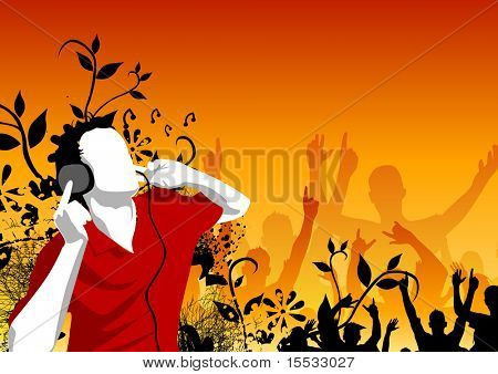 Man listening to music with crowds in the background