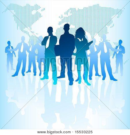 Un gran grupo de empresarios con un mundo digital detrás de ellos.