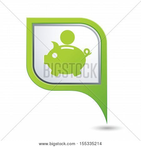 Map pointer with piggy bank icon. Vector illustration