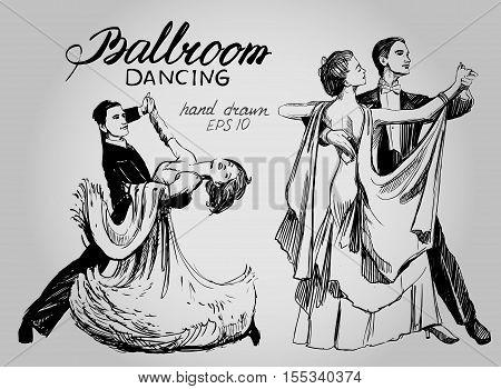 Ballroom dance. Couple dancing waltz. Hand drawn vector illustration. Isolated