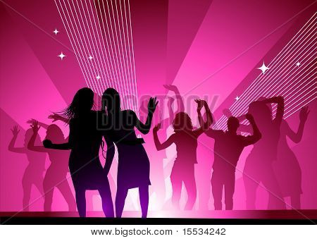 Girls out dancing in a nightclub having fun.