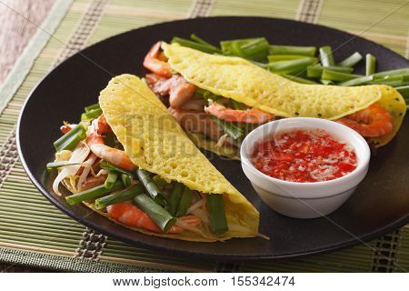 Vietnamese Banh Xeo Crepes With Pork, Shrimp And Bean Sprouts And A Sauce Closeup. Horizontal