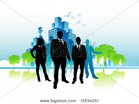 Busy city life vector with a business people.
