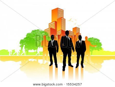 Busy city life vector with a group of people.