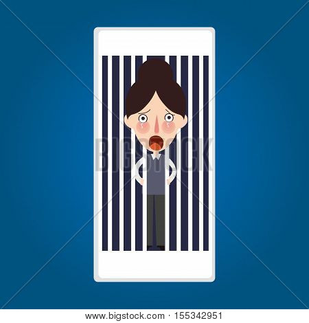 trapped inside phone jailed because mobile post activity vector